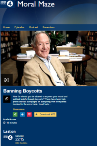 BBC R4's 'Moral Maze' sidesteps the moral issues behind the BDS campaign