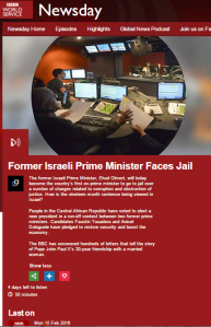 BBC WS 'Newsday' promotes Olmert trials conspiracy theory