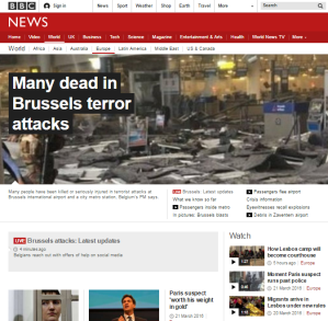 Brussels attacks terror Europe page
