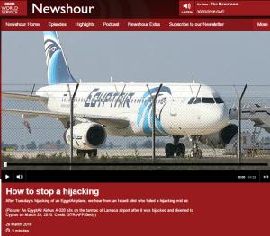 Hijacking item on Newshour