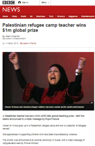 Tortuous headlines for BBC report on Palestinian teacher's prize
