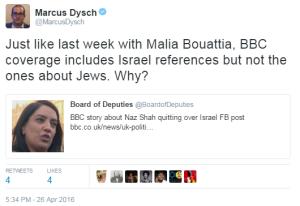 Naz Shah Marcus Dysch tweet