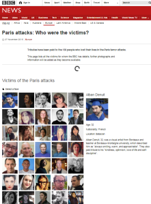 Comparing BBC personalisation of victims of terror in Paris, Brussels and Israel