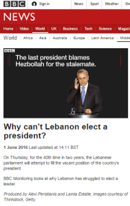 BBC Monitoring president Lebanon