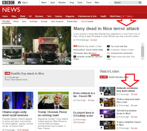 BBC News website 'World' page
