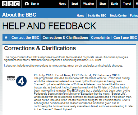BBC Watch complaint on 'banned' book upheld
