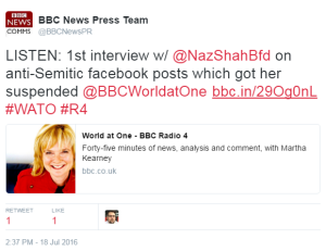 "BBC discovers that MP's ""Israel"" Facebook posts were antisemitic"