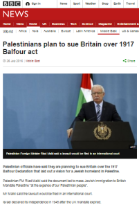 BBC News avoids telling Brits about PA's Balfour ultimatum