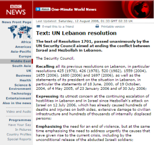 Reviewing BBC reporting of Hizballah's violations of UNSC Resolution 1701