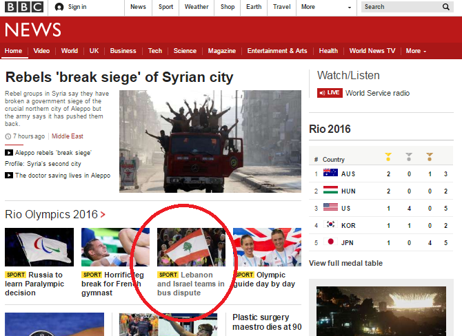 Tepid BBC report on Lebanese Olympic team's bigoted agitprop