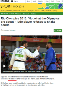 BBC Sport reports snub to Israeli judoka – but gets his name wrong