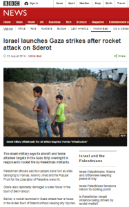 First BBC English language report on a Gaza missile attack in eight months