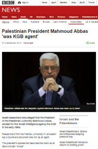 BBC News amplifies PA's spin on Abbas KGB story