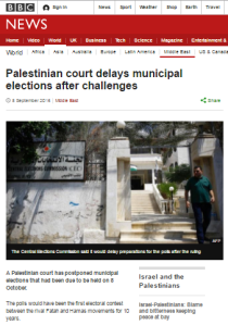 No follow up on postponement of Palestinian elections from BBC News