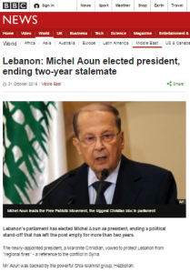 BBC reports on Lebanese presidential election omit relevant information