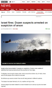 BBC News follow-up report on fires in Israel ignores developments