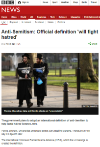 BBC News reports new UK definition of antisemitism – without the definition
