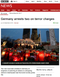 Selective BBC News reporting on terror arrests
