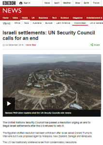 A review of BBC News website coverage of UNSC resolution 2334