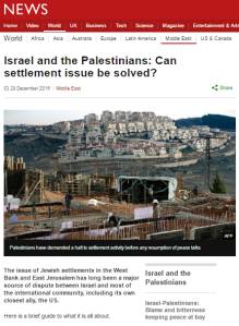 BBC News website produces a backgrounder on 'settlements'