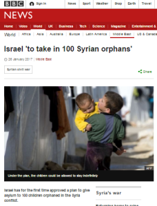 BBC reporting on Israeli offer to take in Syrian refugees