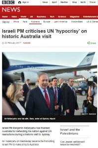 BBC News website framing of Israeli PM's Australia visit