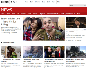 BBC News website homepage
