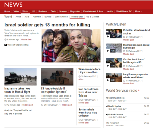 BBC News website 'Middle East' page