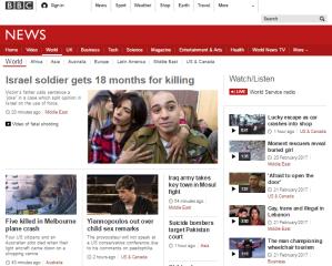 BBC News website 'World' page