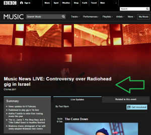 BBC Music promotes falsehoods and BDS campaign website