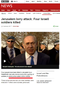 BBC News coverage of terrorism in Israel – January 2017