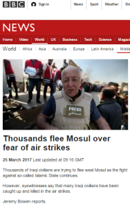 BBC's Bowen saw no human shields in Gaza – but reports them in Mosul