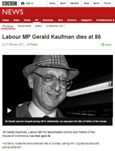BBC News airbrushes Gerald Kaufman's antisemitic remarks