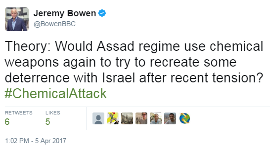 BBC's ME editor suggests Syria chemical attack related to Israel