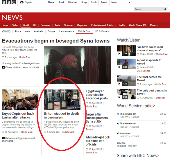 BBC reports on British student murdered in Jerusalem exclude the word terror