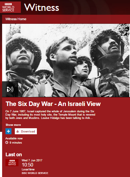 BBC World Service history programmes on the Six Day War