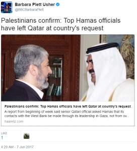 Qatar's expulsion of Hamas officials not newsworthy for the BBC