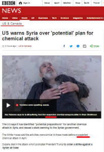 Why does the BBC describe the Khan Sheikhoun chemical attack as 'suspected'?