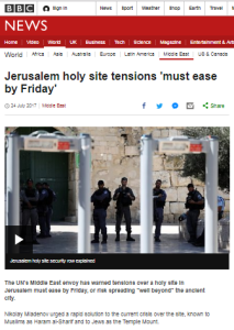 What did BBC News edit out of a UN rep's statement on Jerusalem violence?