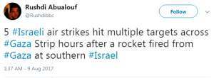 Another Gaza missile attack and BBC silence continues