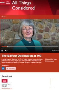BBC Radio Wales on the Balfour Declaration – part one