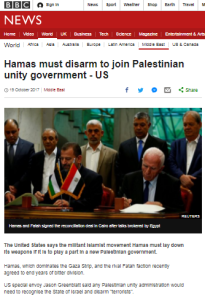 BBC adds superfluous punctuation to US and Israeli statements on Hamas