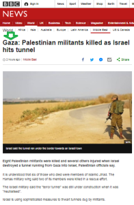 BBC News report on Gaza tunnel equivocal about its purpose