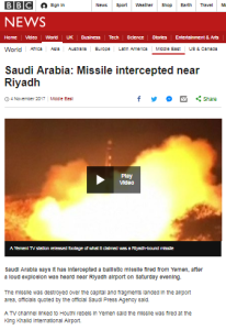 BBC coverage of missile attacks in two ME locations