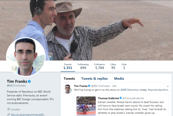 A BBC journalist's chosen Twitter header compromises impartiality