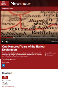 BBC WS 'Newshour' Balfour Declaration centenary special – part one