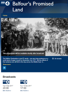 BBC's Balfour Declaration centenary programming continues