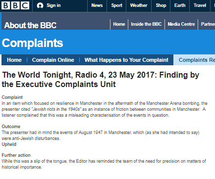 Error acknowledged, complaint upheld – yet BBC inaccuracy still remains online