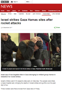 For the first time this year, BBC reports Gaza rocket attacks on Israeli civilians