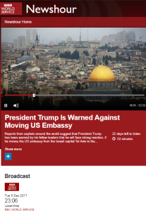 How did BBC radio frame the US announcement on Jerusalem?